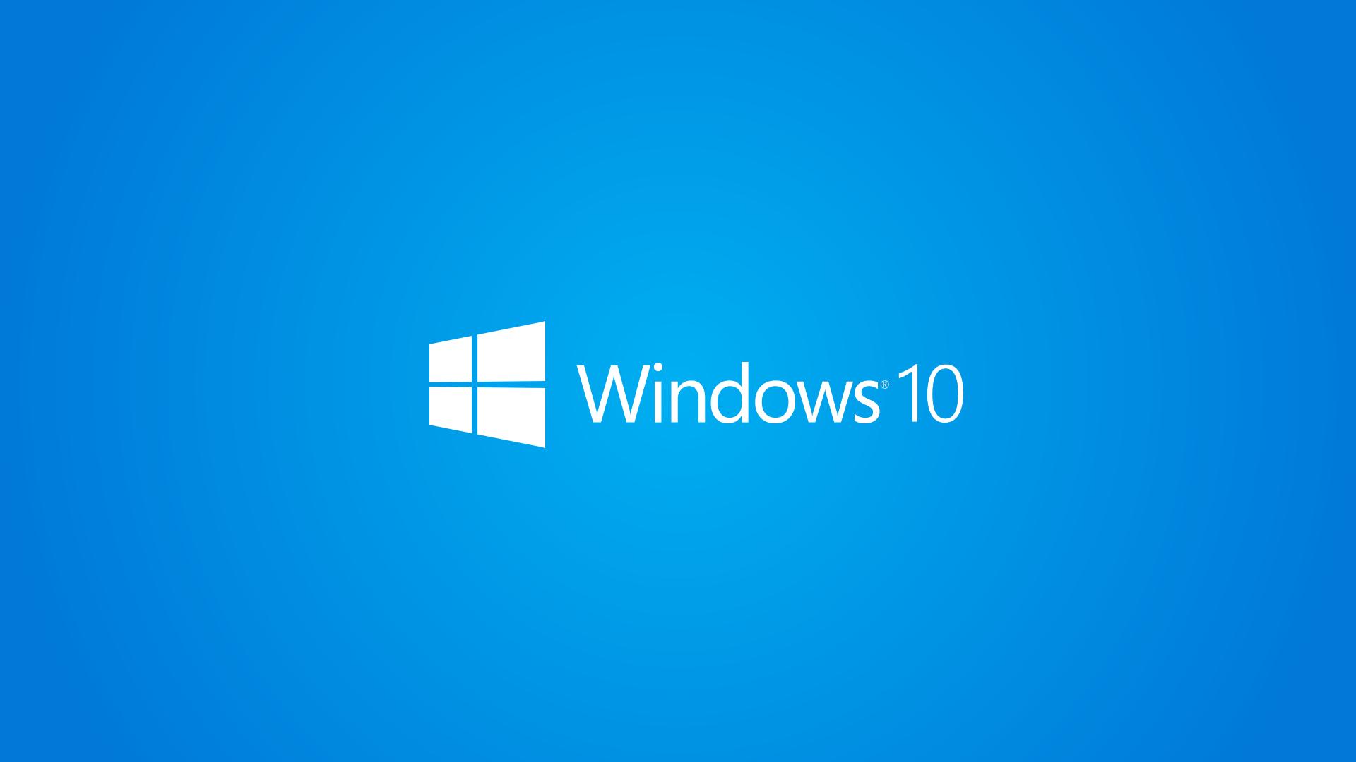 Windows 10 Wallpaper 1080p Full HD White Logo Blue